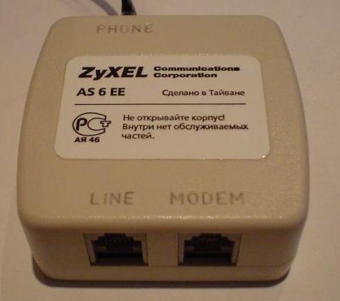 Рис.2 Общий вариант подключения ADSL сплиттера ZyXEL AS 6 EE. для примера взят модем ZyXEL 660H.